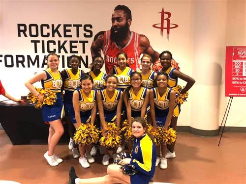 Photo of BCJH cheer at Houston Rockets game