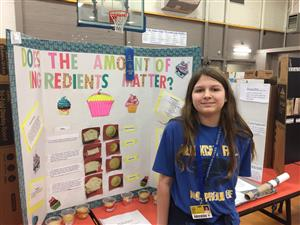 photo of jenna, 1st place in science fair, honors division