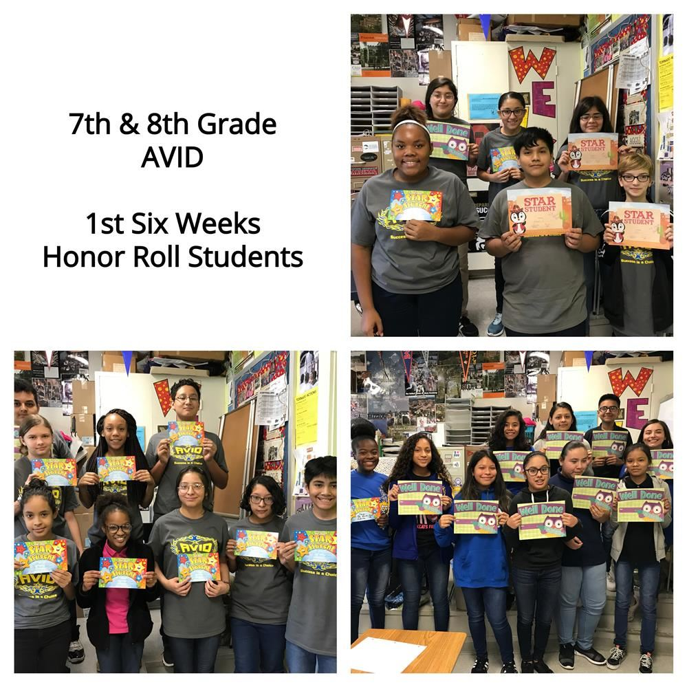 7th and 8th grade 1st 6 Weeks Honor Roll Students