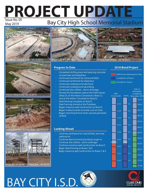 photo of PDF of May 2019 bond project update for Stadium