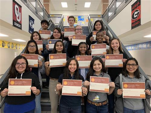 photo of CTE students holding certificates