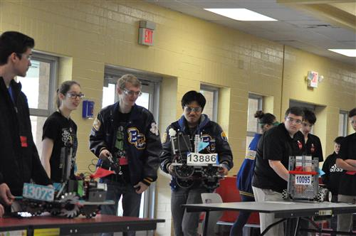 photo of some of the BCHS Robotics team at contest