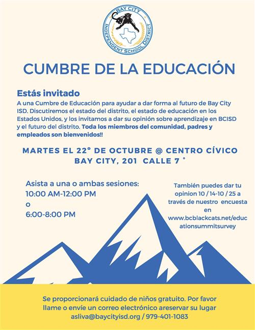 photo of education summit flyer in Spanish